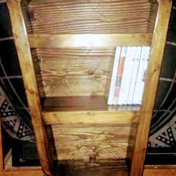 Custom Made Hand-Crafted Wooden Coffin Shelf Bookcaswe