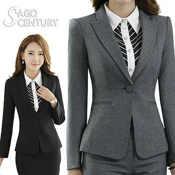 2017 Slim Women Work Office Lady Business Outwear Formal Solid Casual Tops Long Sleeve Blazer Green/Pink/Gray Jacket Career Coat