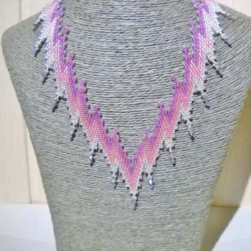 Pink crystal necklace with Swarovski crystal, statement necklace, mothers day gift, Bargello pattern, Bargello necklace, pink jewelry