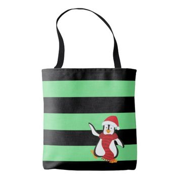 Cute Dancing Penguin w/Red Hat and Scarf Tote Bag