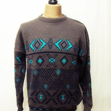 Vintage 1980s Grey Blue Aztec Pattern Indie Jumper Sweater Medium
