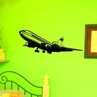 Wall Decal Vinyl Sticker Art Home Decor Design Mural Airplane Wall Decal Air Aviation Plane Bedroom Dorm Nursery Boy Kids Children Room Z773