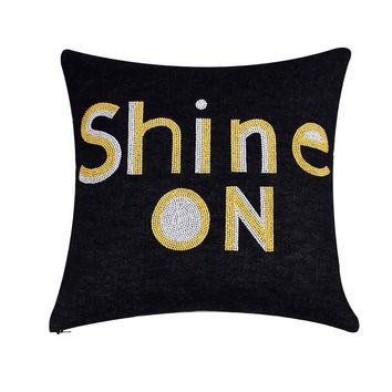 Shine on  Hand Embroidered And Beaded Throw Pillow Yellow