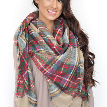 Cuddle Me By The Fire- Blanket Scarf- Red/Green