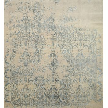 EORC Hand-knotted Wool & Viscose Ivory Contemporary Oriental Erased Rug
