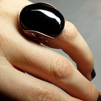 SALE Onyx Statement Ring, Bold Black Stone, Handmade Jewelry, Made to Any Size, Bright Copper
