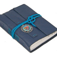 Navy Blue Leather Journal with Heart Cameo Bookmark