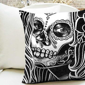 Day of the Dead monochrome sugar skull girl portrait Pillow Cases