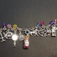 Disney Beauty and the beast inspired true love tibetan silver charm bracelet