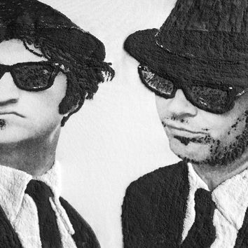DAN AYKROYD and JOHN BELUSHI THE BLUES BROTHERS T-SHIRT PAINTED 3d