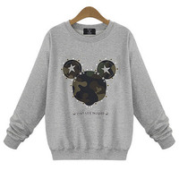 Cartoon Mickey Print Long Sleeve Sweatshirt
