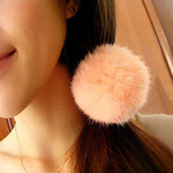 Hot South Korea Angora Rabbit Ball Hair Bands Of Fur Hair Rope Band Hair Accessory Rubber Band = 1932586820