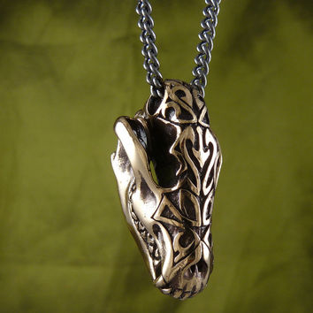 "Wolf Skull Necklace Bronze Wolf Pendant with Tribal Design on 32"" Gunmetal Chain"
