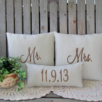 Mr. & Mrs. Pillows w/ Wedding Date Custom Embroidered Wedding Gift Personalized Beige Linen Look Anniversary Shower