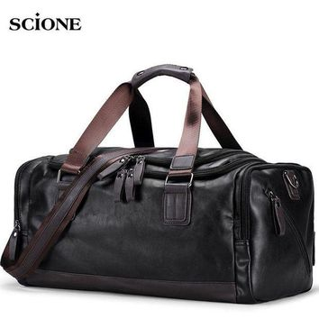 CREY3F Men's PU Leather Gym Bag Sports Bags Duffel Travel Luggage Tote Handbag for Male Fitness Men Trip Carry ON Shoulder Bags XA109WA