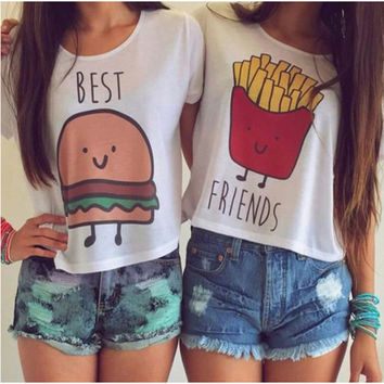 CWLSP Women T-shirt Short Sleeve Crop Top Hamburger Chips BEST FRIEND print T Shirt 2017 Hot Sale Friendship Tops t-shirt QA616