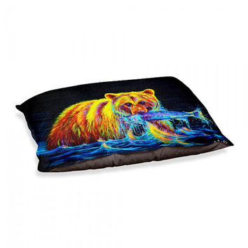Colorful Grizzly Bear Dog Bed / Dog Pillow - Night of the Grizzly - Artwork by Teshia