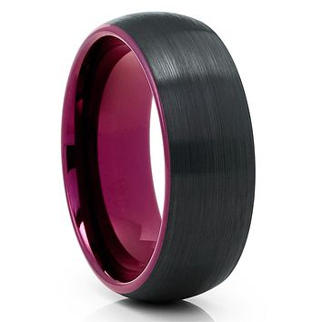 Purple Tungsten Wedding Band - Purple Tungsten Ring - Black Tungsten Band