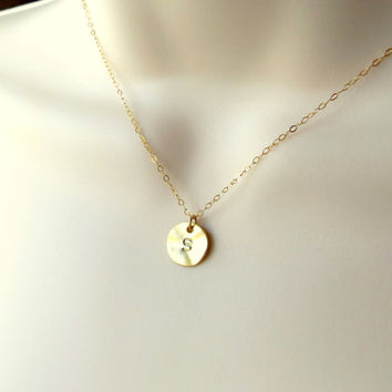 Personalized Gold Disc Necklace. Gold Coin Pendant. Dot Necklace. Gold Pendant on Gold Filled Chain. Coin Necklace.