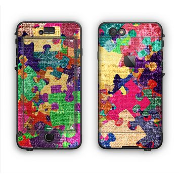 The Neon Colored Puzzle Pieces Apple iPhone 6 Plus LifeProof Nuud Case Skin Set