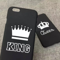 New Fashion Lovers Black Letter case Matte hard Plastic for iphone 7