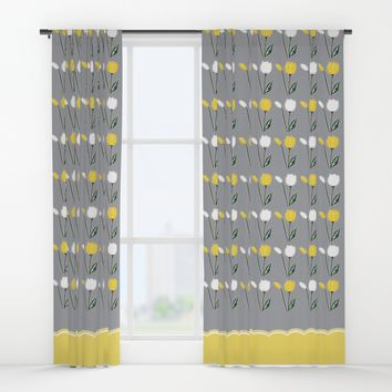 Tulips Pattern in Yellow, White, and Grey Window Curtains by Artist Abigail