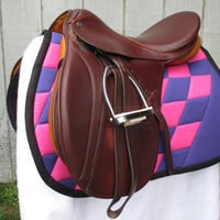 English All-Purpose Saddle Pad:  Pink and Purple Checkerboard with Black Trim