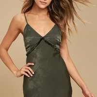 Incomparable Olive Green Satin Slip Dress