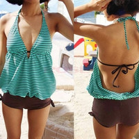 2014 Womens Green One-piece String Stripes Halter Swimwear Swimsuit Bathing Suit Shorts SV000526 = 1645613252