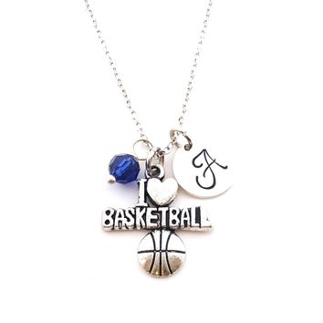 I Love Basketball Charm Personalized Sterling Silver Necklace