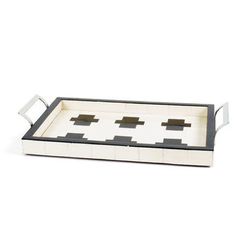 Cross Ivory and Black Bone Tray