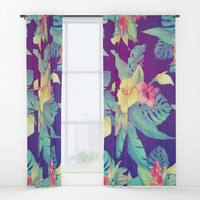 Tropical flowers Window Curtains by printapix