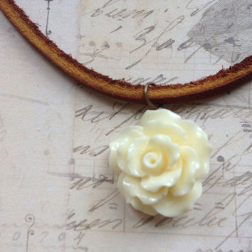 Leather Choker with Cream Rose Pendant / Necklace