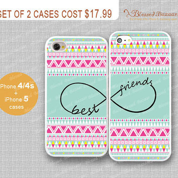 Best friends infinity and Aztec iPhone 4/4s Case, iPhone 5 Case, iPhone Hard Plastic /Soft Rubber Case,Personalized iPhone Case,water proof