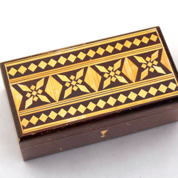 Vintage wooden jewelry box 70s,Treasury box, Handmade box, Wood Jewelry Box, Folk Style, Folk Art, Unique Ornament
