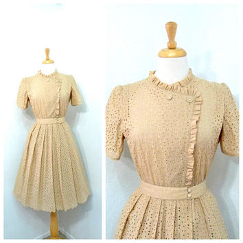 1950s dress Eyelet Cotton dress Pastel Peach Belted vintage 50s dress Cocktail Party Day dress S/M