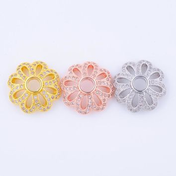Supplies For Jewelry 5pcs/lot Micro Pave Zircon Copper 17mm Flower Bead Caps DIY Bracelet & Necklace Jewelry Accessory Findings