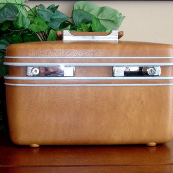 Vintage Samsonite Train Case, Profile, Luggage, Suitcase, Camel Brown Leatherette, Caramel Tan, with Mirror and Removable Tray, H35