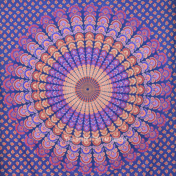 Cool Blue Mandala Tapestry, Hippie College Dorm and Bedroom Wall Hanging on RoyalFurnish.com