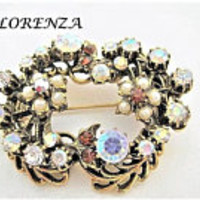 Florenza Rhinestone Brooch, Pearl Highlights, Victorian Revival, Antique Gold Tone