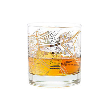 Gold Leaf New Orleans Map Rocks Glass