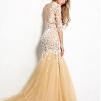 2013  Yellows evening dress Wedding dress prom dress Formal gown mermaid dress