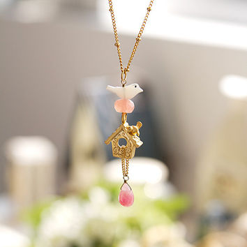 N0025 // Bird House Necklace - Gold // Birthday Gift, Family Gift, Everyday Jewelry