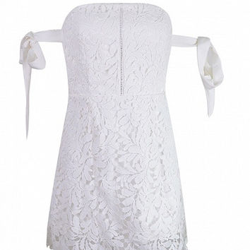 White Cutwork Lace Off Shoulder Tie Sleeve Lace Mini Dress
