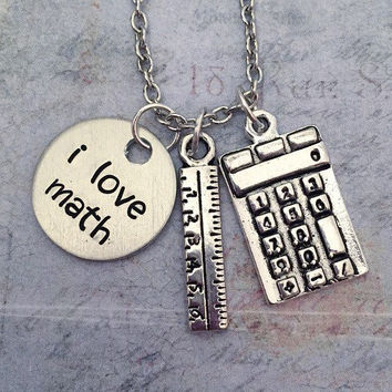 I Love Math Necklace - Teacher Jewelry - Math Jewelry - Education Jewelry - School Jewelry - Math Lover Jewelry - Mathematics Necklace