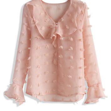Cotton Snow Florkced Top in Pink