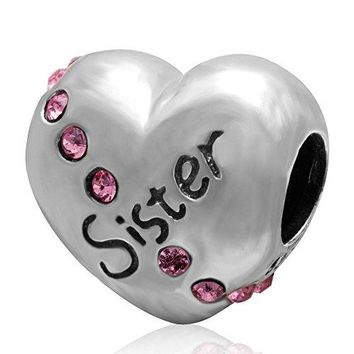 Ollia Jewelry 925 Sterling Silver Beads Grow Up Grow Old with You Love Sister Heart Charm with Austrian Crystals Warm Family Love Charms pink