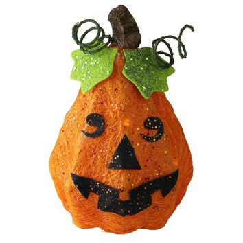 "10.75"" Lighted Sisal Orange Happy Face Jack-O-Lantern Pumpkin Halloween Yard Art Decoration"