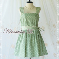 Harmony Of Cottage Dress - Polka Dot Sundress Sweet Cottage Dress Cropped Green Checkered Strap And Sash Party Dress Day Dress Tea Dress