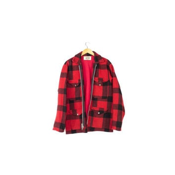 1960s wool red & black lumberjack jacket / vintage 60s / buffalo plaid hunting  / Mens Medium